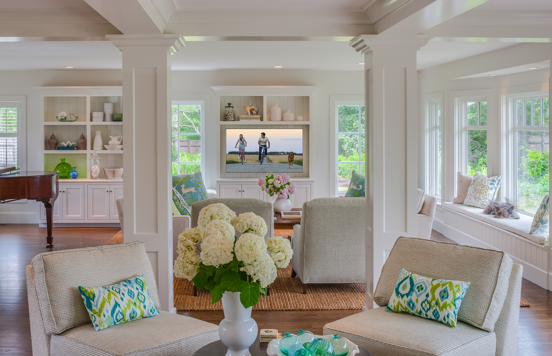 """The main interior living space at PSD's """"Lucky's Bluff,"""" a new custom home"""